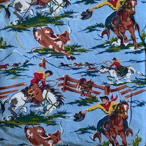 Nick & Nora vintage cowboy print flannel sheet set